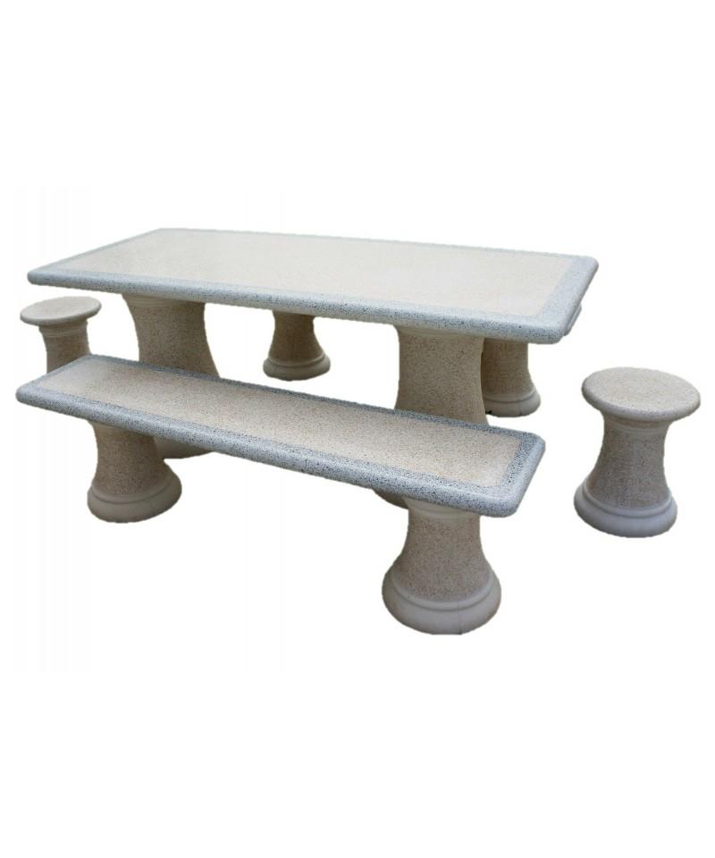 Salon de jardin rectangualaire en pierre reconstitu e - Table de jardin en pierre reconstituee ...