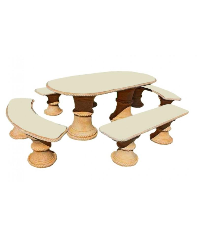 Salon de jardin ocre en pierre - Table de jardin en pierre reconstituee ...