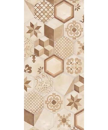 Carrelage Terra imitation carreaux de ciment hexagonaux ivoire, ocre et marron