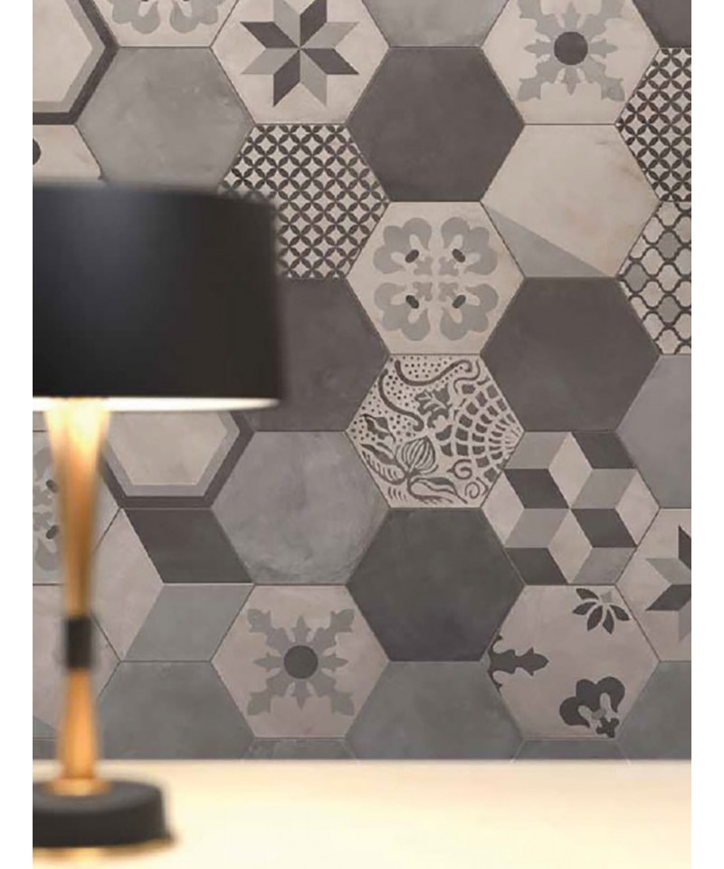 carrelage imitation carreaux de ciment en hexagone marque marca corona mat riaux collic. Black Bedroom Furniture Sets. Home Design Ideas