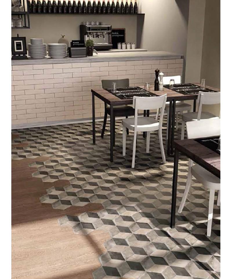 carrelage imitation carreaux de ciment en hexagone marque marca corona mat riaux collic. Black Bedroom Furniture Sets. Home Design Ideas