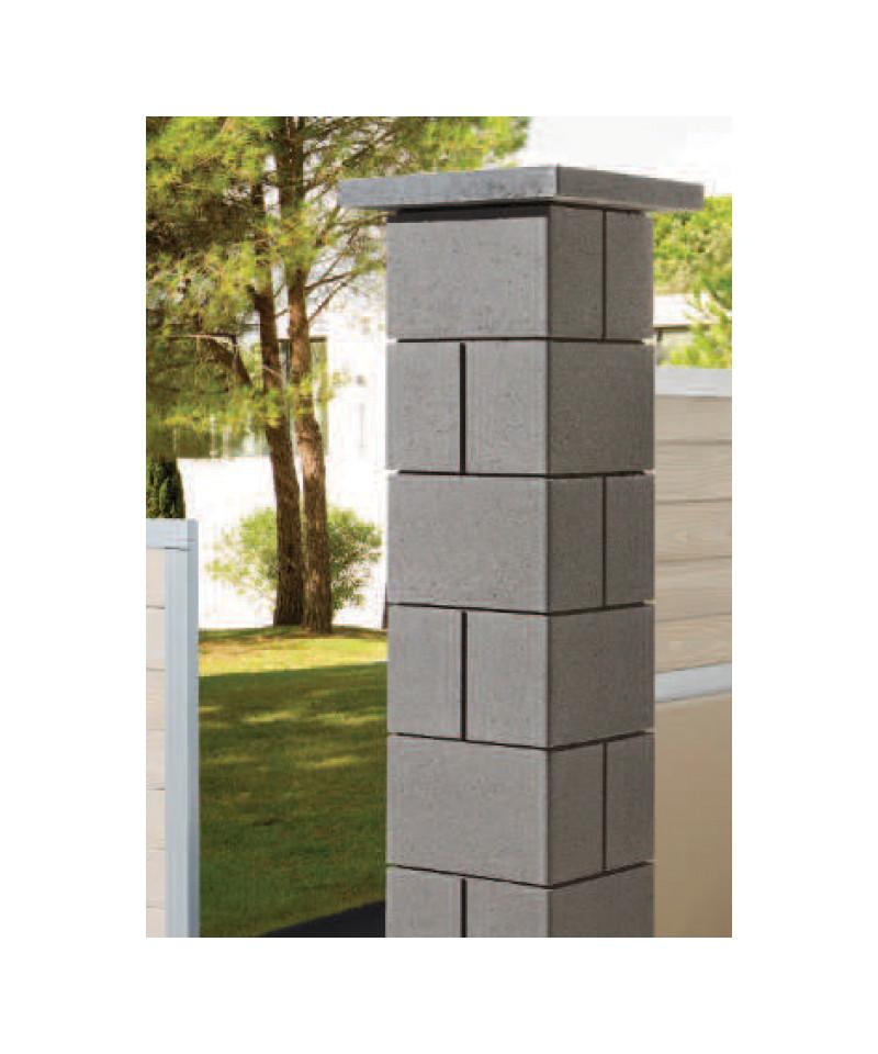 Cube de pilier Harmonie de couleur anthracite en pierre reconstituée