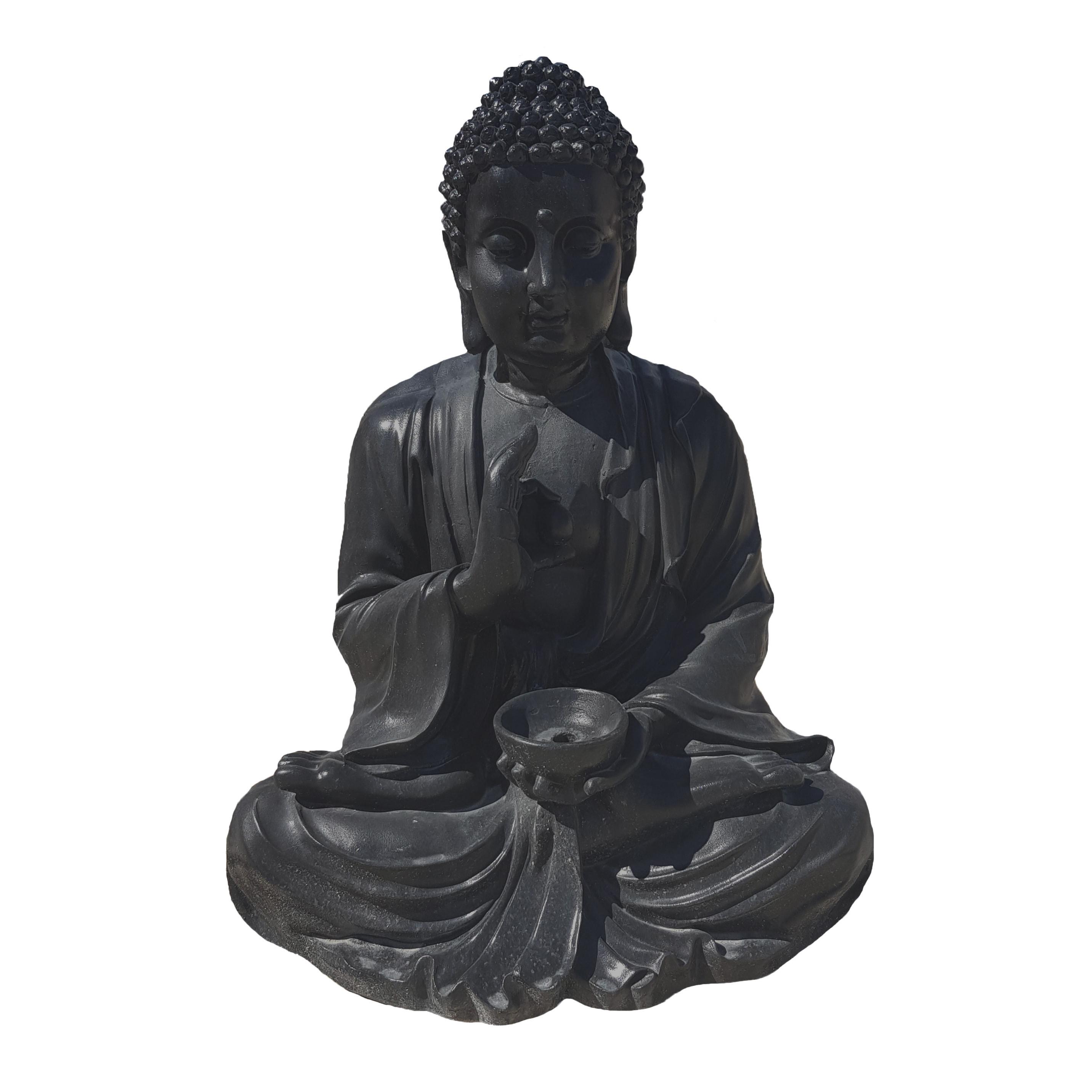 Fabricant Beton Cire France bouddha noir en béton ciré h85 cm | collic matériaux