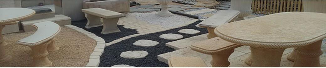 salon de jardin et banc en pierre reconstitu e mat riaux collic. Black Bedroom Furniture Sets. Home Design Ideas